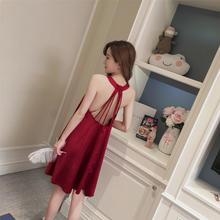 缎面睡裙经典酒红粉色藏青均码仿真丝绸性感睡衣家居服