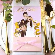 结婚的蘑菇原创手绘浪漫唯美结婚请柬 淡粉色烫金清新婚礼邀请函