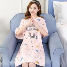 纯棉睡裙女夏季韩版宽松可爱加大码加肥薄款连衣裙可外穿家居服