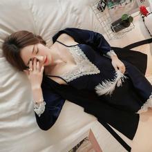 春秋仿真丝睡衣女长袖性感吊带睡裙带胸垫丝绸睡袍两件套家居服
