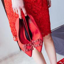980婚礼鞋婚鞋女敬酒服新娘鞋子红色高跟6.5cm9.5cm