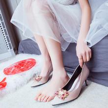 980结婚鞋婚鞋女婚纱照新娘鞋香槟色高跟6.5cm9.5cm