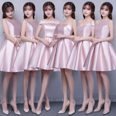 韩式清新玉粉色缎面伴娘服