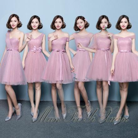 韩式豆沙色显瘦短款伴娘服