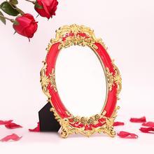 创意结婚庆用品新娘镜玫瑰爱心红镜子欧式折叠化妆镜婚礼新人嫁妆