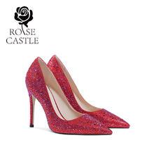 rosecastle41大码红色水钻婚鞋33小码高跟单鞋女