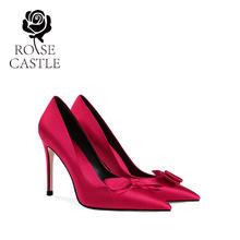rose castle新娘鞋32小码33红色婚鞋高跟单鞋女