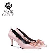 rose castle新娘鞋32小码33伴娘婚鞋高跟单鞋女