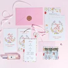 新品特种纸请柬 粉色婚礼喜帖欧式 手绘小清新 定制请帖邀请函