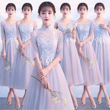 热销款!灰色伴娘服韩版夏季伴娘礼服姐妹团短款显瘦晚礼服