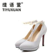 缇语萱婚婚鞋女浅口圆头粗跟女鞋子 扣带防水台金色银色红色婚鞋