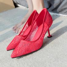 811新款蕾丝婚鞋猫跟新娘鞋婚纱鞋红色5.5cm7.5cm