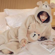 法兰绒珊瑚绒睡裙女冬连帽可爱学生卡通韩版公主加厚孕妇长款睡衣