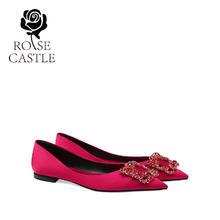 rose castle新娘鞋33码红色平底孕妇婚鞋单鞋女
