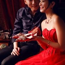 972中式婚礼秀禾服婚鞋女新娘鞋子结婚敬酒服鞋平底红色2cm
