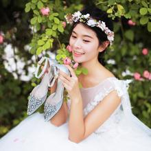 972西式婚礼婚纱鞋婚鞋女新娘鞋子结婚敬酒服鞋平底红色2cm