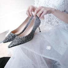 975新款婚纱礼服鞋子新娘婚鞋女黑银色5.5cm7.5cm