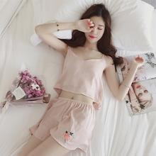 韩版可爱甜美公主性感吊带短裤睡衣女夏季薄款宽松玫瑰家居服套装