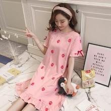 韩版宽松睡裙女夏季薄款短袖可爱清新甜美学生公主草莓睡衣家居服