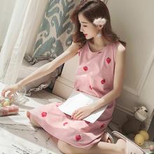 韩版宽松性感无袖背心睡裙女夏季薄款可爱甜美公主草莓睡衣家居服