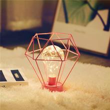 北欧INS礼物极简铜丝卧室结婚装饰铁艺台灯装饰礼物电池灯
