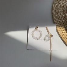 【E168】圆环水晶耳环串珠镶钻耳饰百搭长款不对称拼接耳钉