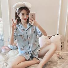 可外穿性感短袖短裤睡衣女夏季薄款可爱卡通条纹小兔子家居服套装