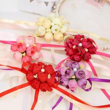 39包邮欧式创意婚礼用品玫瑰花新娘手腕花伴娘姐妹手腕花手花