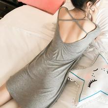 性感交叉露背纯色短袖睡裙女夏季薄款宽松大码清新甜美睡衣家居服