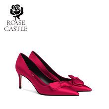 rose castle新娘鞋大小码红色高跟结婚鞋女