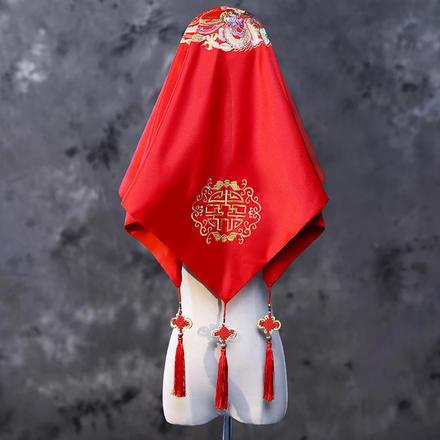 中式红色流苏刺绣红盖头