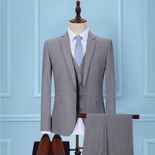 超值10件套】新款伴郎新郎礼服浅灰色男士西装套装西服三件套