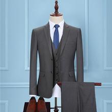 超值10件套】新郎西服套装男士三件套韩版修身深灰色职业正装