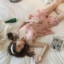 韩版性感可爱甜美吊带睡衣女夏季薄款清新草莓家居服套装可外穿