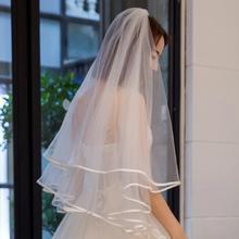 头纱婚纱韩式简约短款超仙新娘森系小清新轻婚纱超仙素纱百搭头饰