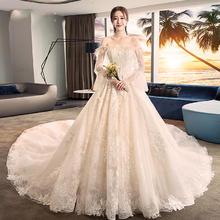 香槟色羽毛一字肩!赫本婚纱2018新款一字肩公主梦幻新娘结婚