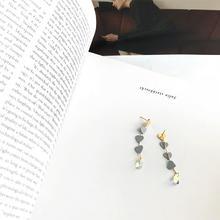 【E278】水晶心形铜耳钉水滴长款吊坠925银针耳环