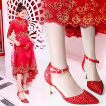 百搭款式!2018新款韩版水晶高跟鞋粗跟婚鞋女红色新娘鞋