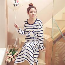 韩版春秋季可爱清新甜美长袖睡裙女条纹卡通睡衣宽松长款家居服