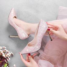 百搭款!售后无忧2018新款韩版结婚新娘鞋亮片水晶鞋细跟婚鞋