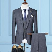 【送衬衫领带领结】韩式薄款四色乱格新郎西装
