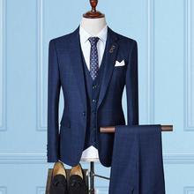 【送衬衫领带领结】韩式胸针小格子三件套西装