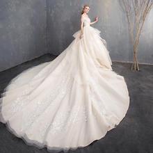 文艺抹胸婚纱礼服2018新款长拖尾一字肩公主梦幻赫本新娘显瘦