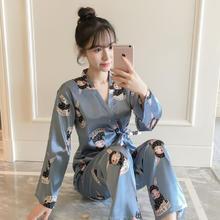 春秋季日系性感和服长袖睡衣女可爱卡通围巾兔家居服套装可外穿