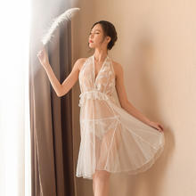 982外贸女士性感情趣内衣 透视装白纱露肩蕾丝情趣内衣