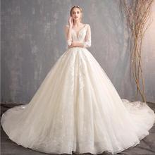 赫本奢华!水晶婚纱礼服新款拖尾新娘齐地显瘦公主梦幻一字肩