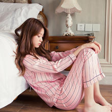 仿真丝睡衣女秋条纹性感可外穿甜美长袖韩版清新家居服