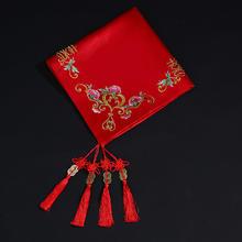 结婚大红盖头纱绸缎秀禾服头饰传统结婚饰品红盖头新娘盖头纱