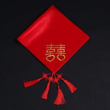 新款新娘结婚红盖头喜盖头纱喜帕蒙头巾婚庆中式刺绣缎面盖头