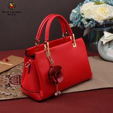 【鹦鹉恋歌】立体花朵个性新娘包包红色结婚包时尚婚宴手提包